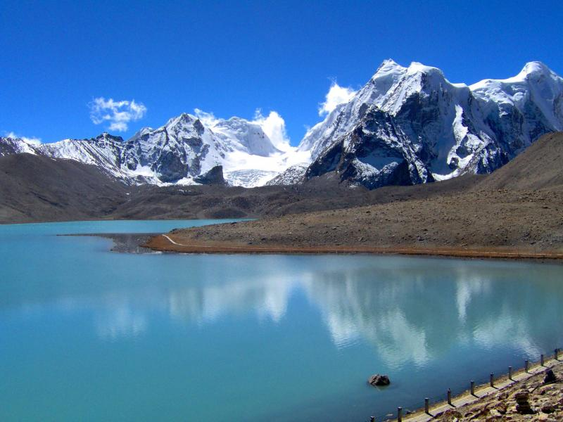 Beautiful Gurudongmar Lake Panoramic View, North Sikkim
