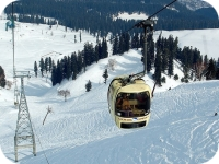 Gondola of Gulmarg Kashmir with snow mountains