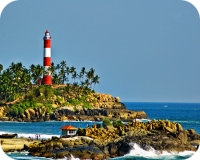 Blue waters of Kovalam Lighthouse Beach
